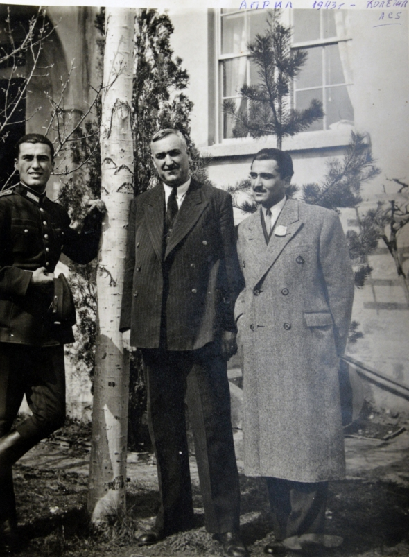 Pic. 12 Dobrin with his father and brother in front of the house, 1943
